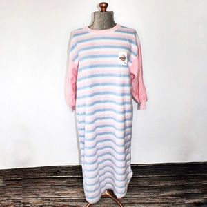 🎀 Vintage Blue Pink White Fleece Stripe Nightie